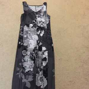 Black and Grey Floral Maxi Dress